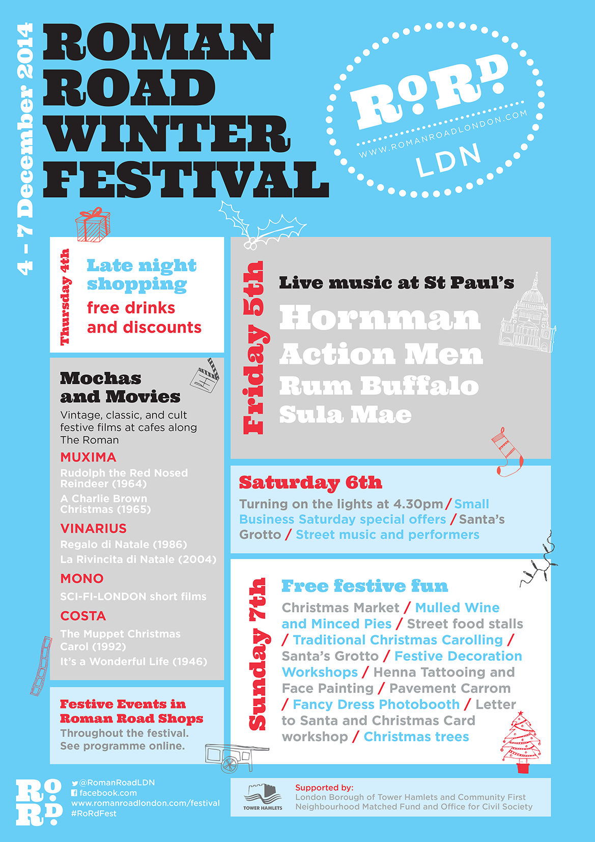 Poster for Roman Road Winter Festival 2014