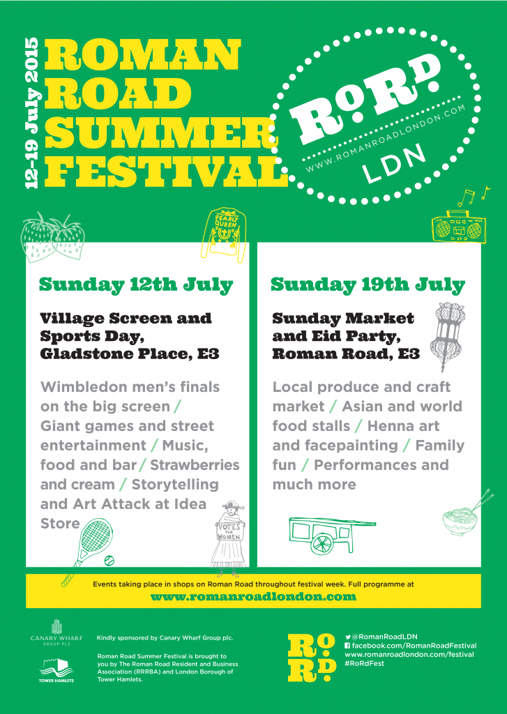 Poster for Roman Road Summer Festival 2015 - green and yellow colourway