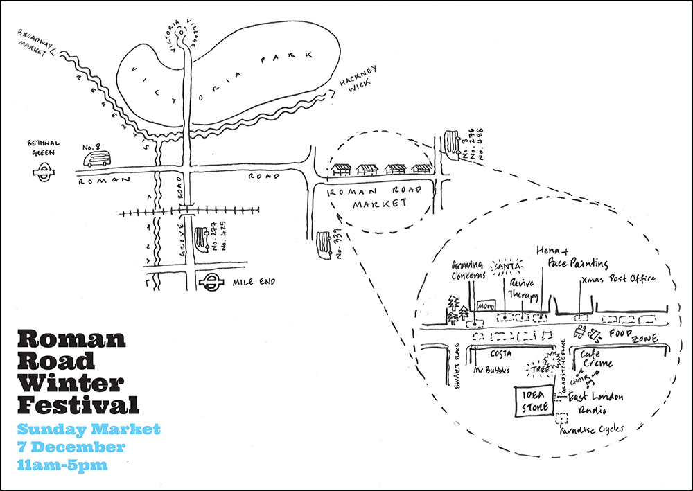 hand drawn sketched map of Roman Road market.