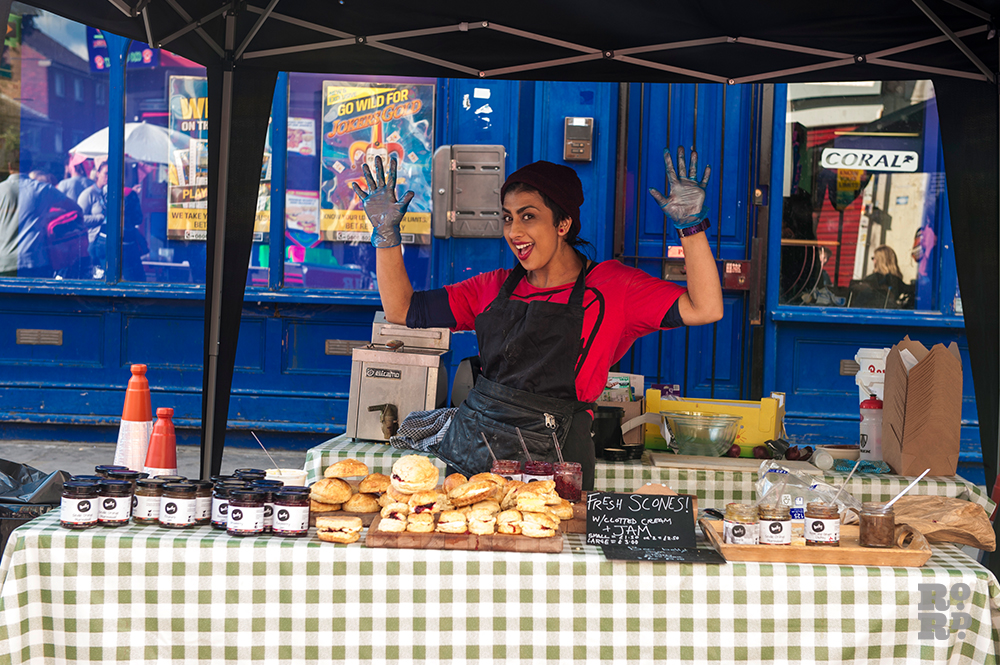 Nelly from Bow Belly selling homemade scones and jam