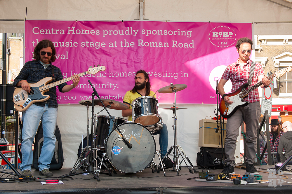 Band playing at Roman Road Festival