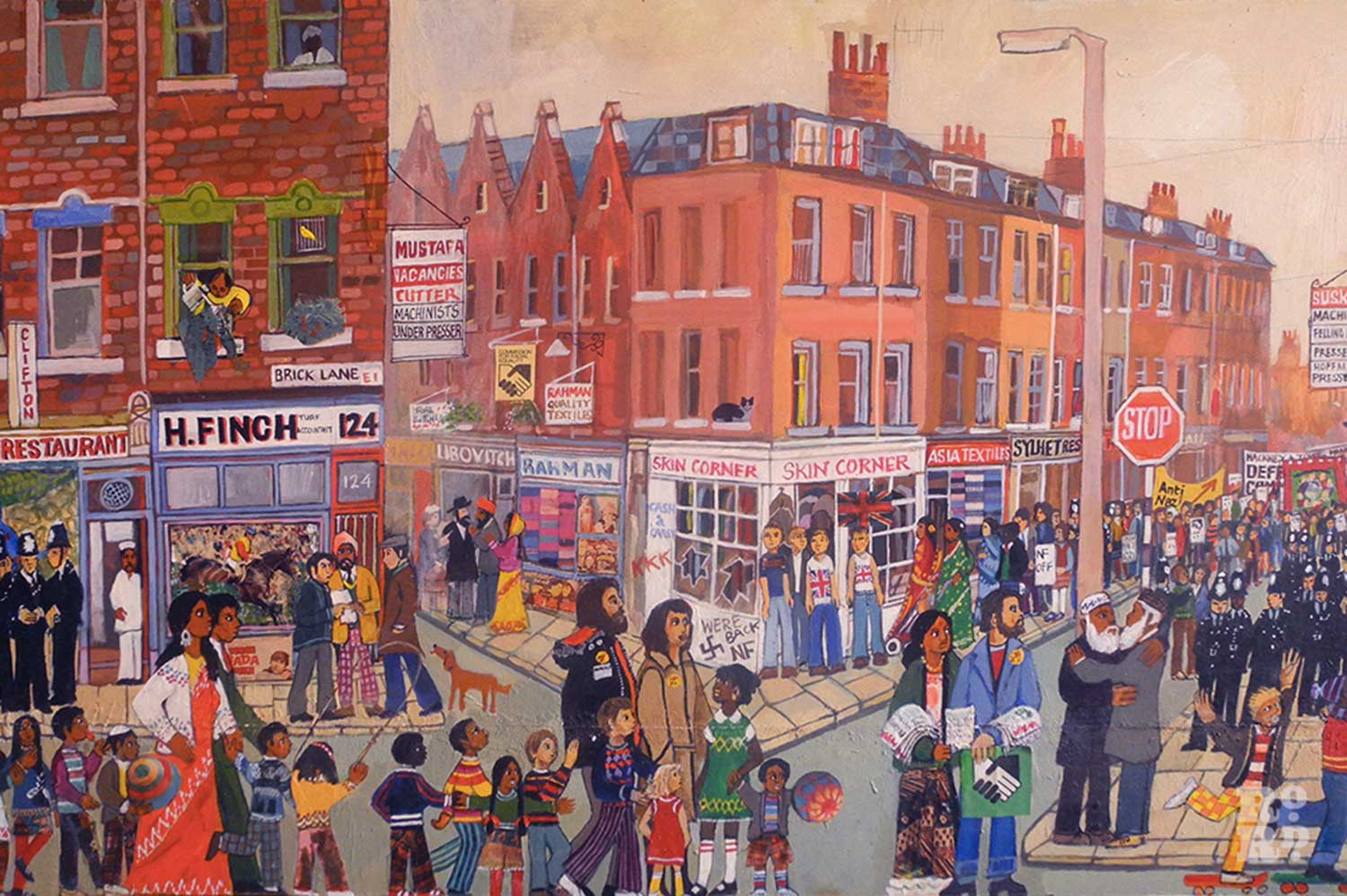 Brick Lane painting by Cable Street artist Dan Jones depicting busy east end London scene.
