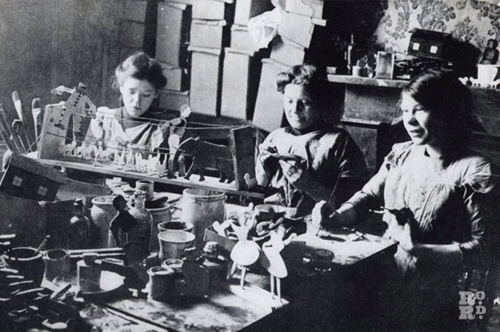 Archive image of women working at Sylvia Pankhurst's Toy Factory, 1914 to 1934.