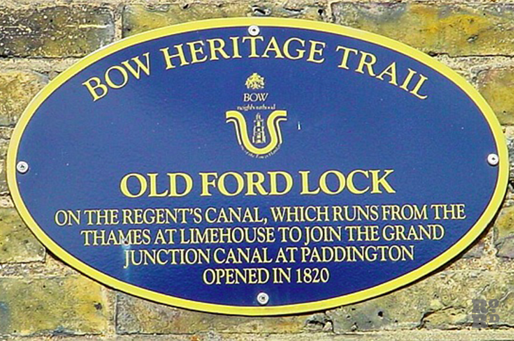 Bow Heritage Trail, Old Ford Lock blue plaque.