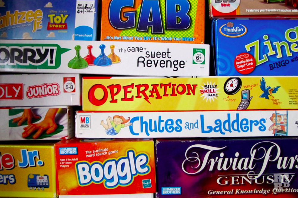 Classic old-fashioned children's board games including Operation, Boggle and Trivial Pursuit.