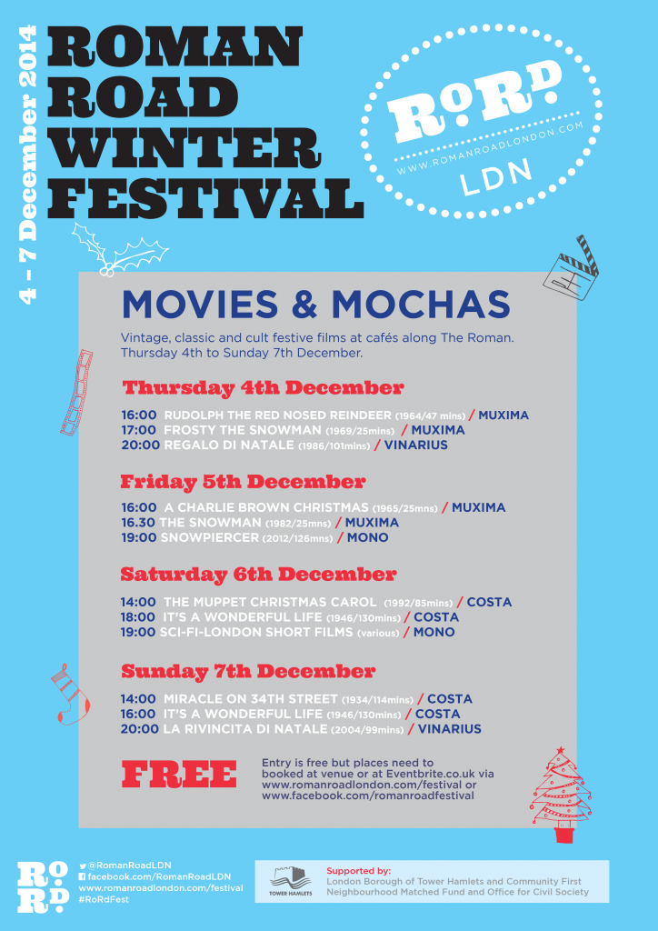 Poster for Roman Road Winter Festival Movies and Mochas film fest