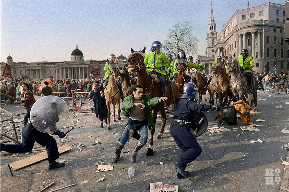 Mounted police clashing with rioters during the poll tax riots
