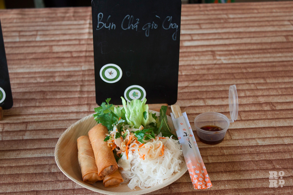 Bowl of Vietnamese spring rolls and rice noodles
