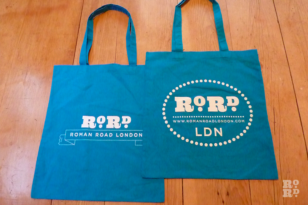 Cyan blue cotton Roman Road tote shopping bag.