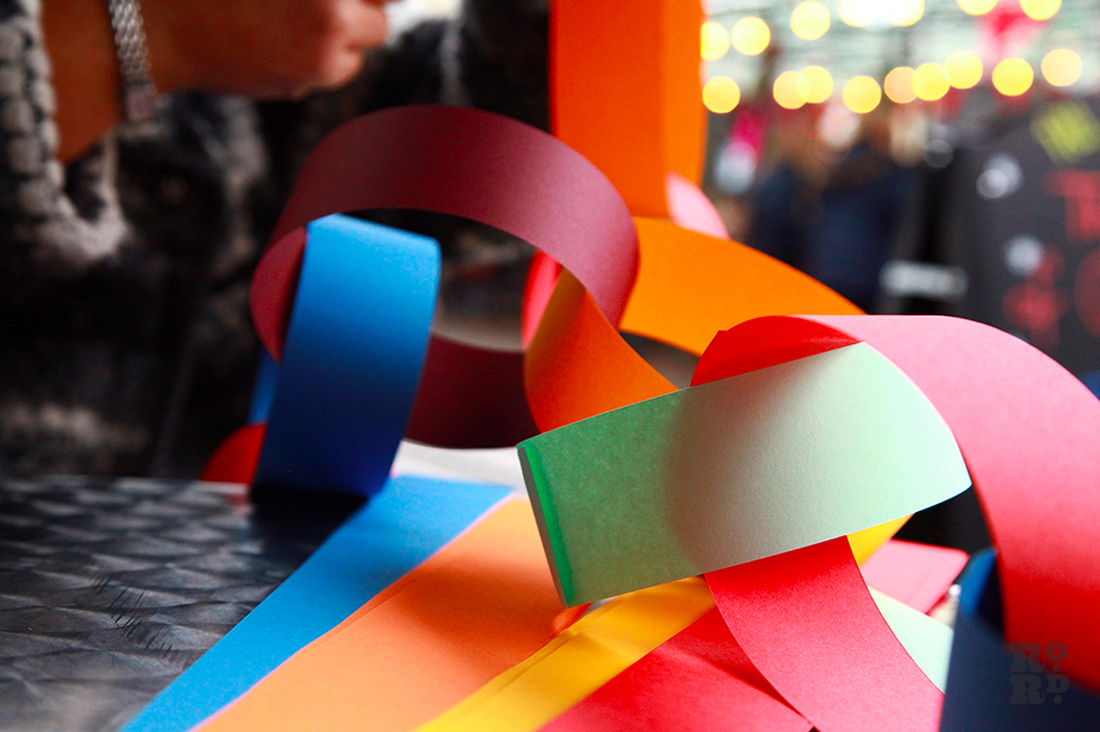 Giant paper chain in mulitcoloured paper.