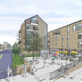 Architect's drawing of Bow Wharf housing development on Hertford Union and Regents canal.