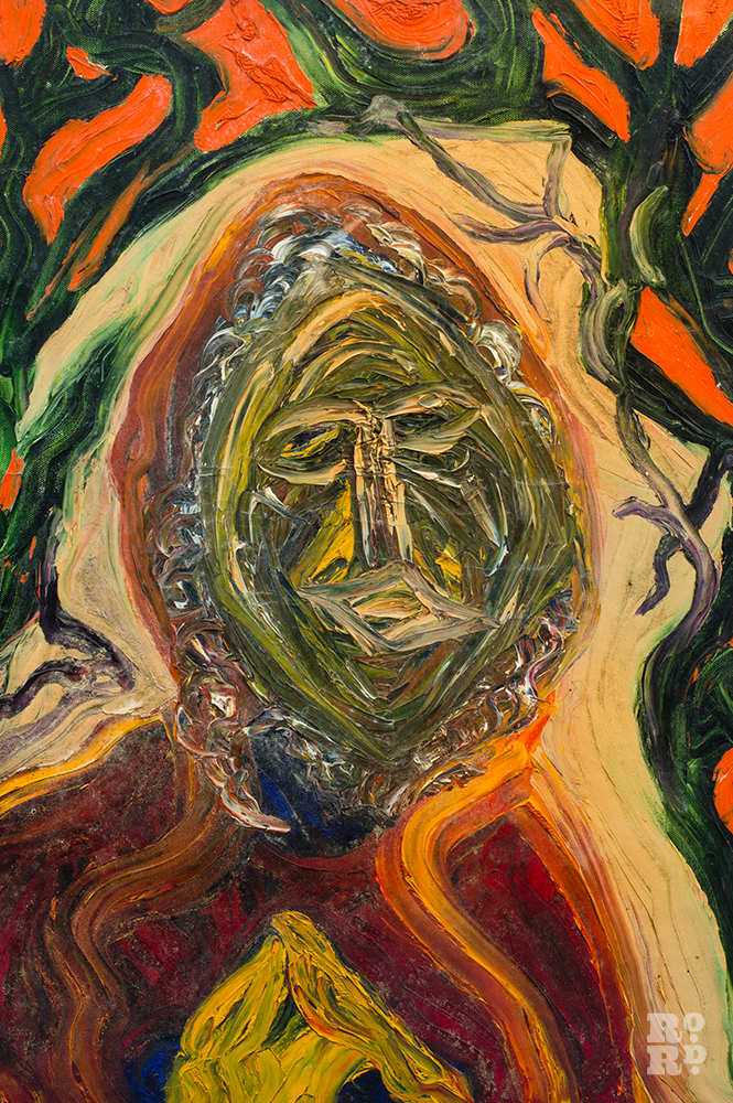 Painting by Mary Barnes of green and orange portrait.