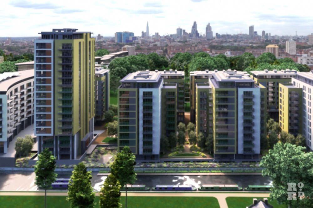 CGI image of Sutton Wharf housing development overlooking Regents Canal in East London, with view of London skyline behind.