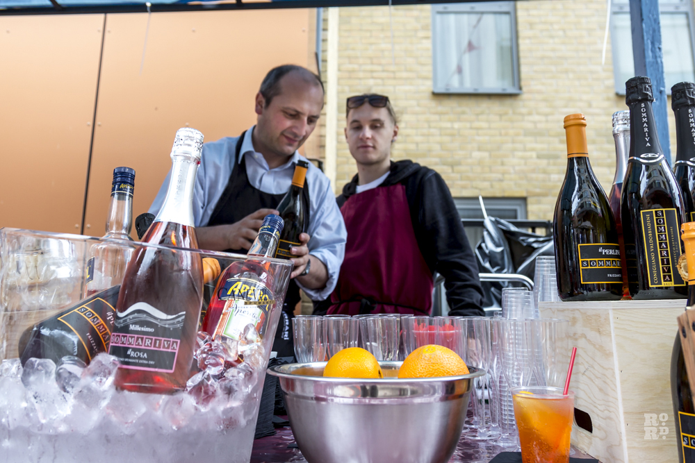 Festival drinks bar selling Prosecco and Aperol Spritz