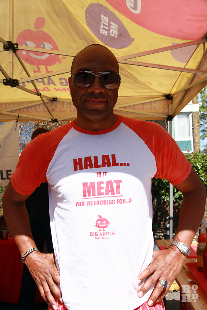 Man wearing Tshirt saying Halal Meat