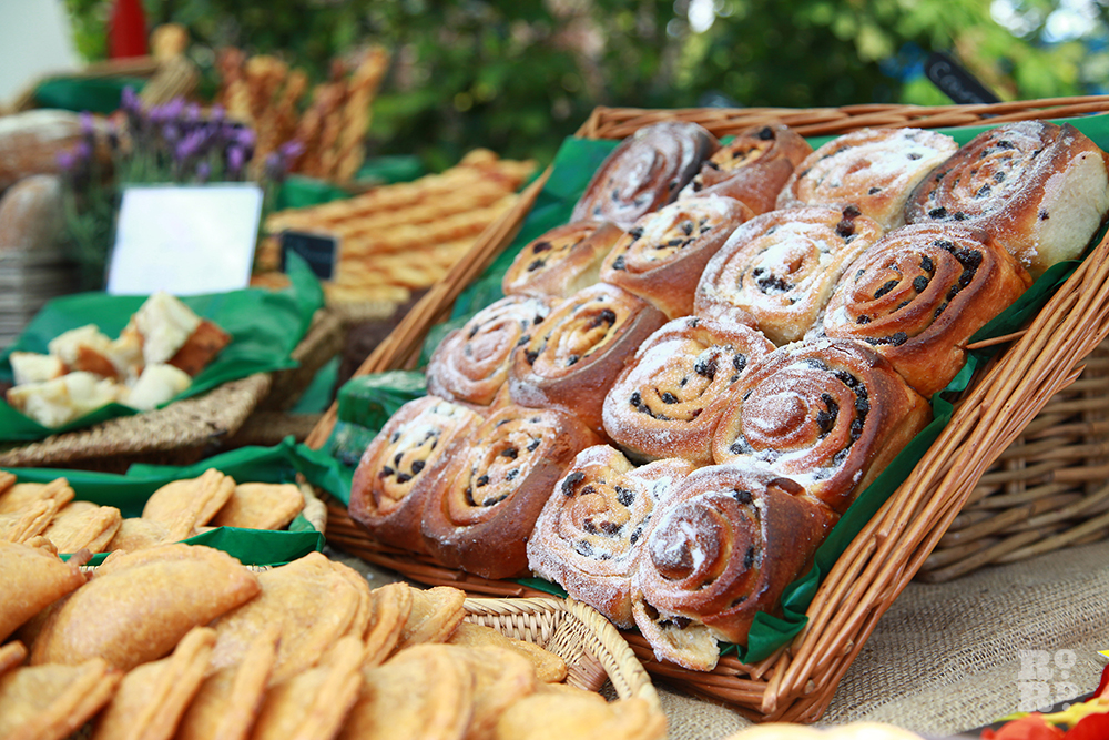 Chelsea Buns in a basket at Roman Road Festival