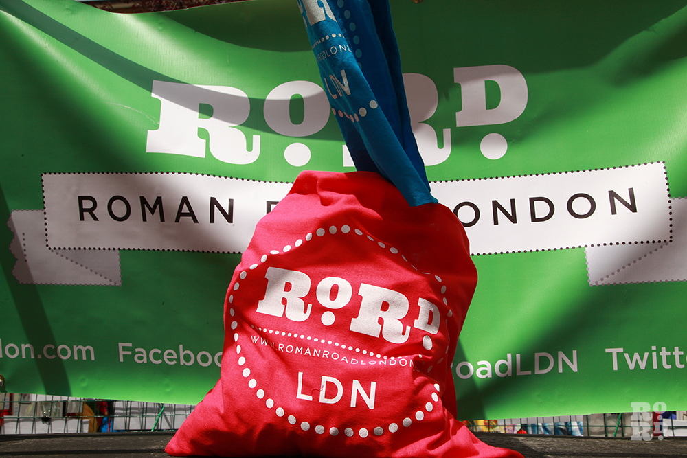 Red RoRdLDN shopping tote at Roman Road Festival