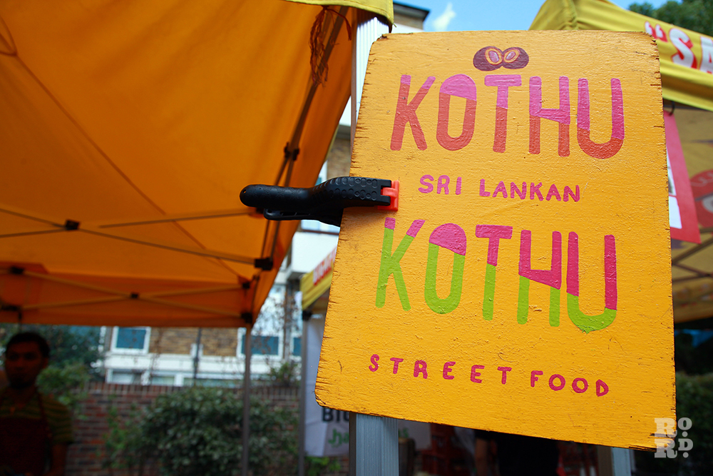 Painted wooden sign for Sri Lankan street food, Kothu Kothu