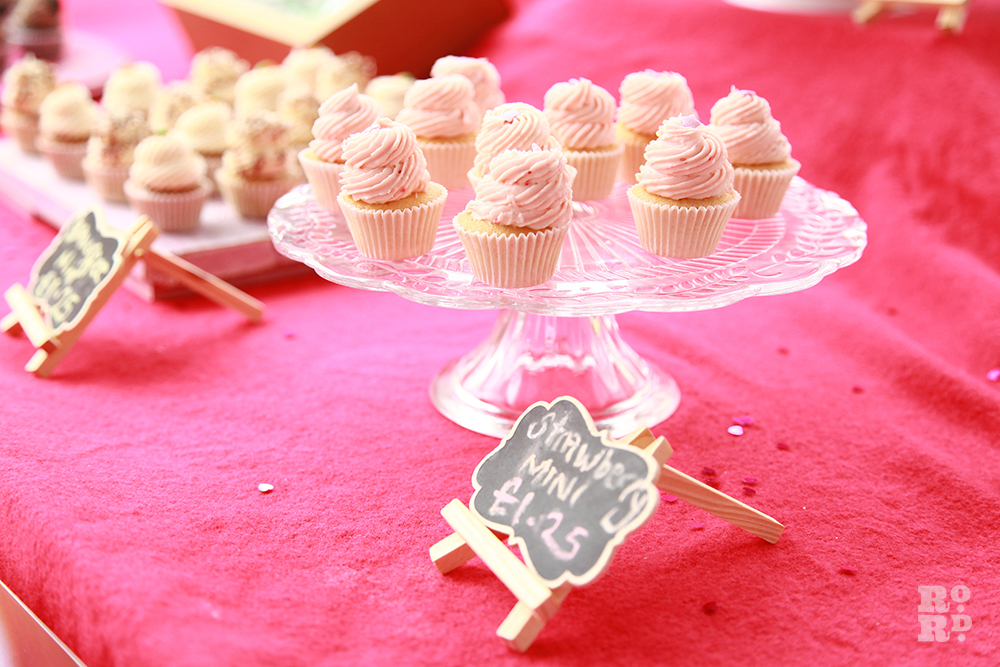 Cake stand with mini cupcakes at Roman Road Festival