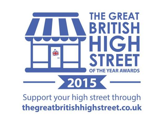 Great British High Street Awards 2015 logo, Support your high street including shortlisted Roman Road, Bow, East London