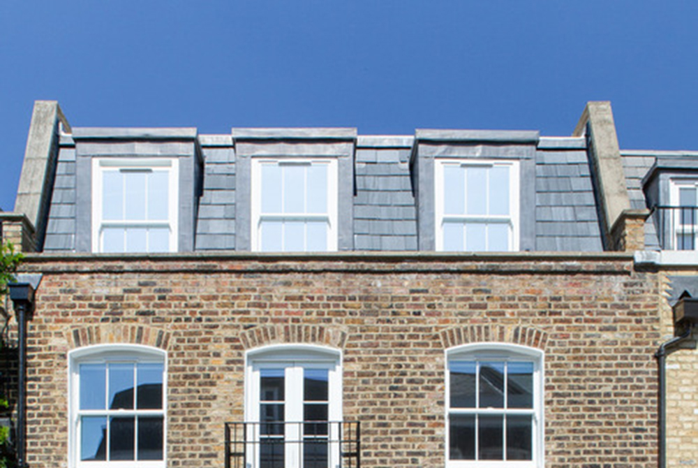Mansard roof on a London townhouse