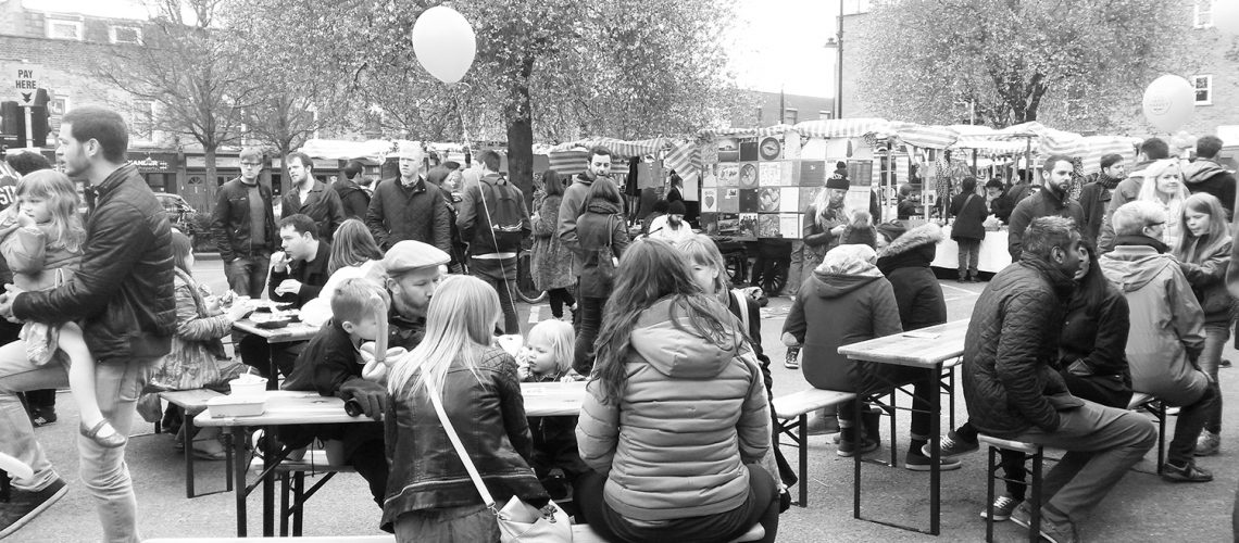 Braving the grey March day to enjoy the opening day of Roman Road Yard Market
