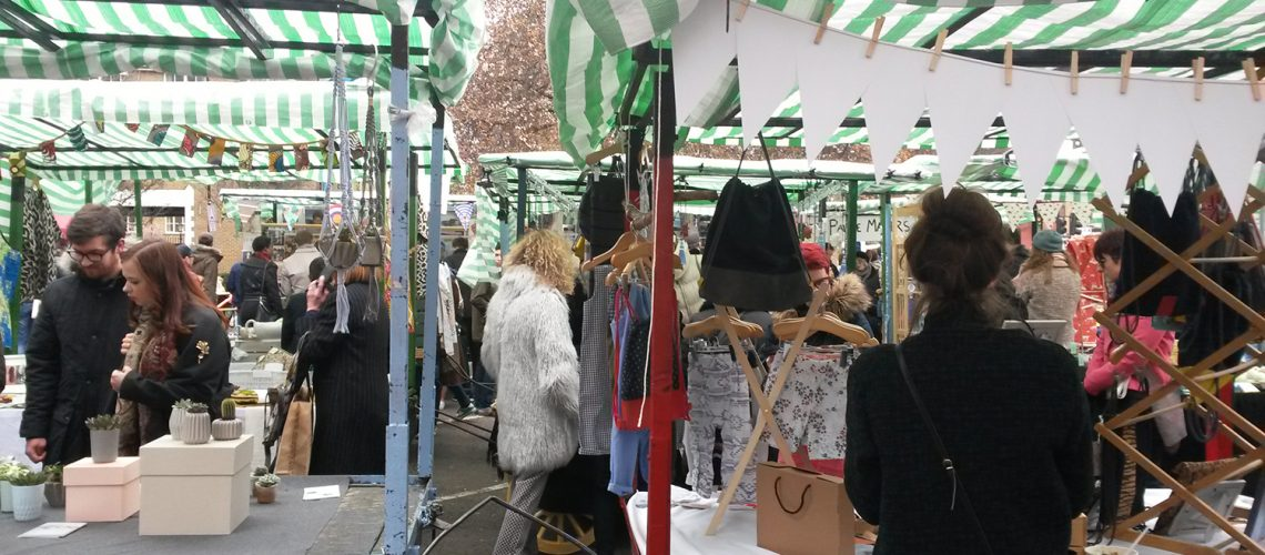 Rows of stalls at Roman Road Yard Market launch event