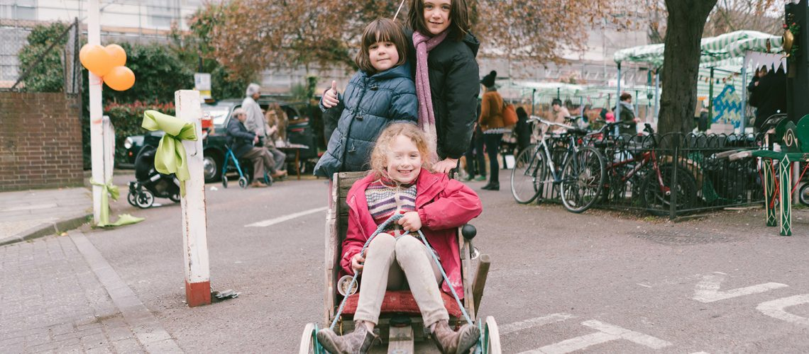 Kids on the kart at Roman Road Yard Market launch event