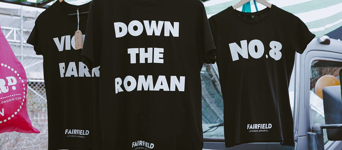Roman Road Yard Market launch event with Fairfield Apparel slogan Tshirts