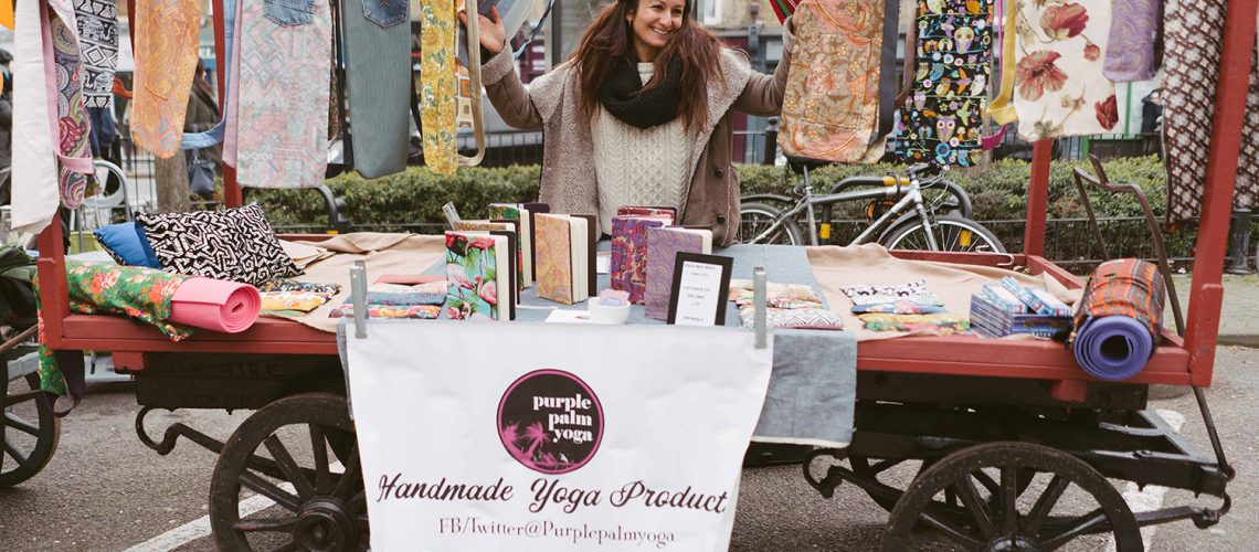 Roman Road Yard Market launch event and Mary from Purple Palm Yoga
