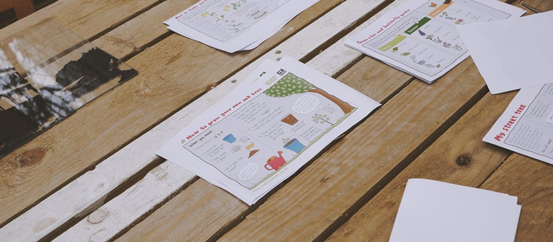 Materials for the children's natural trail at Roman Road Yard Market launch event
