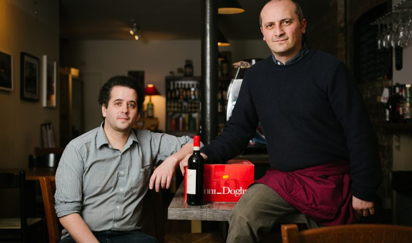 Owners Philippe Polleux and Eugeno Ciccarelli at Vinarius wine shop in Roman Road East London