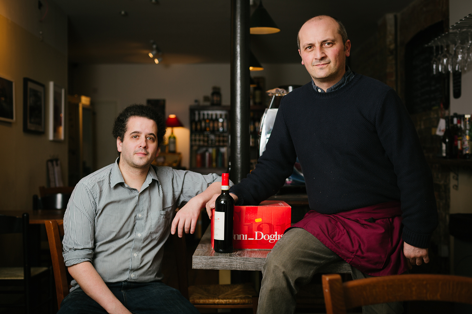 Philippe Polleux and Eugeno Ciccarelli at Vinarius wine shop in Roman Road East London