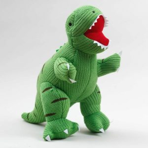 Green knitted dinosaur