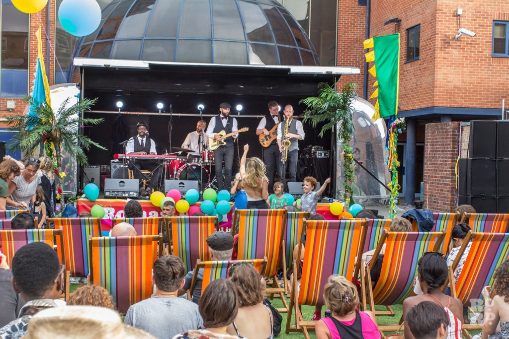 Freddie and the Freeloaders on the Airstream stage at Roman Road Summer Festival 2016