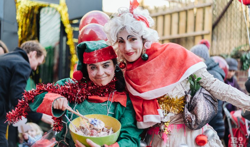 Fancy dress Chritmas characters at Roman Road Christmas Fair 2016 © Roman Koblov