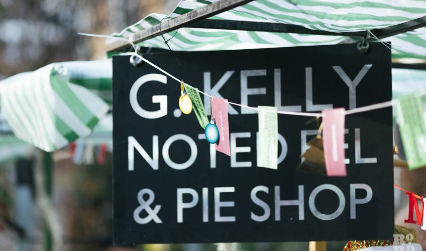 GKelly Noted Eel and Pie Shop sign at Roman Road Christmas Fair 2016 © Roman Koblov