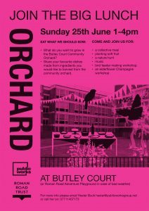 Poster for Big Lunch at Butley Community Orchard, Sun 25 June