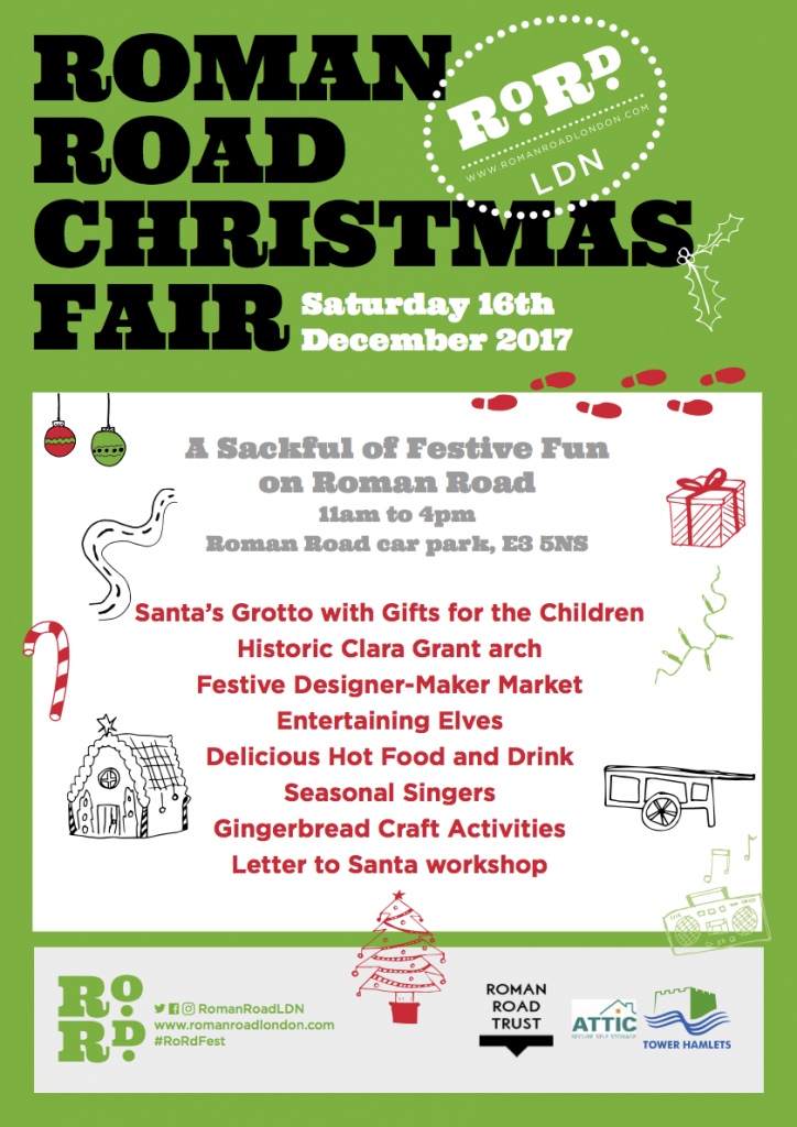 Poster for Roman Road Christmas Fair 2017