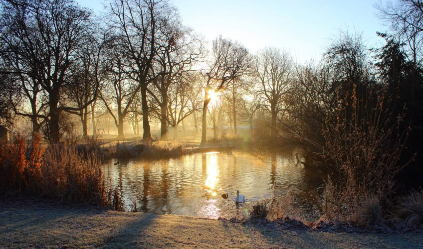 East London's Victoria Park fishing pond on a frosty winter morning