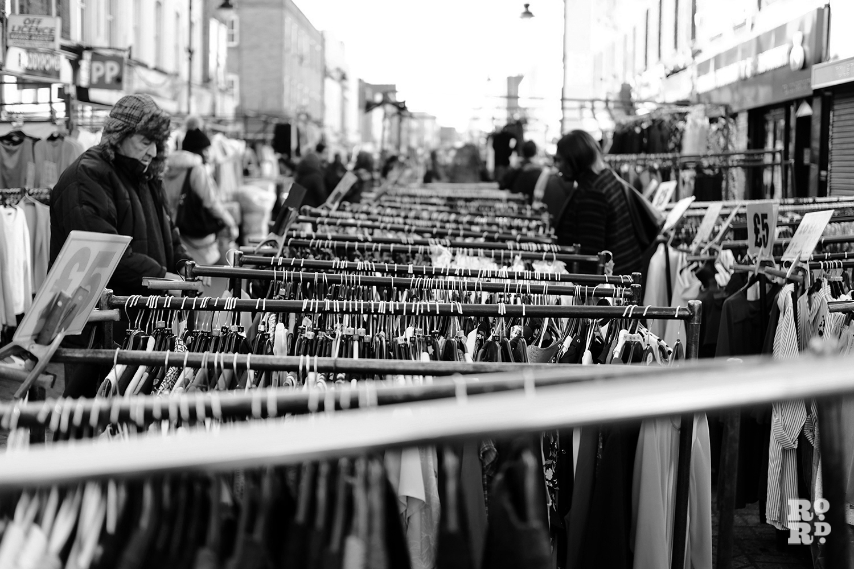 Roman Road Market view of clothes rails