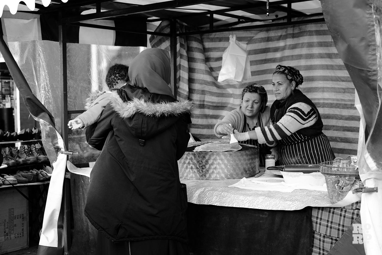 Roman Road Market street food stall selling Turkish gozlem