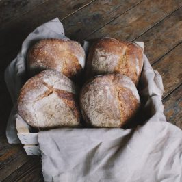 Four sourdough bread loaves in a basket