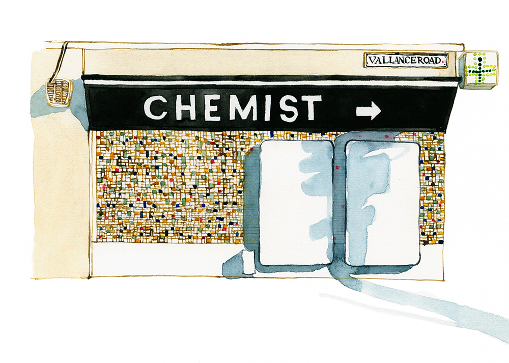 Illustration of the chemist on Vallance Road