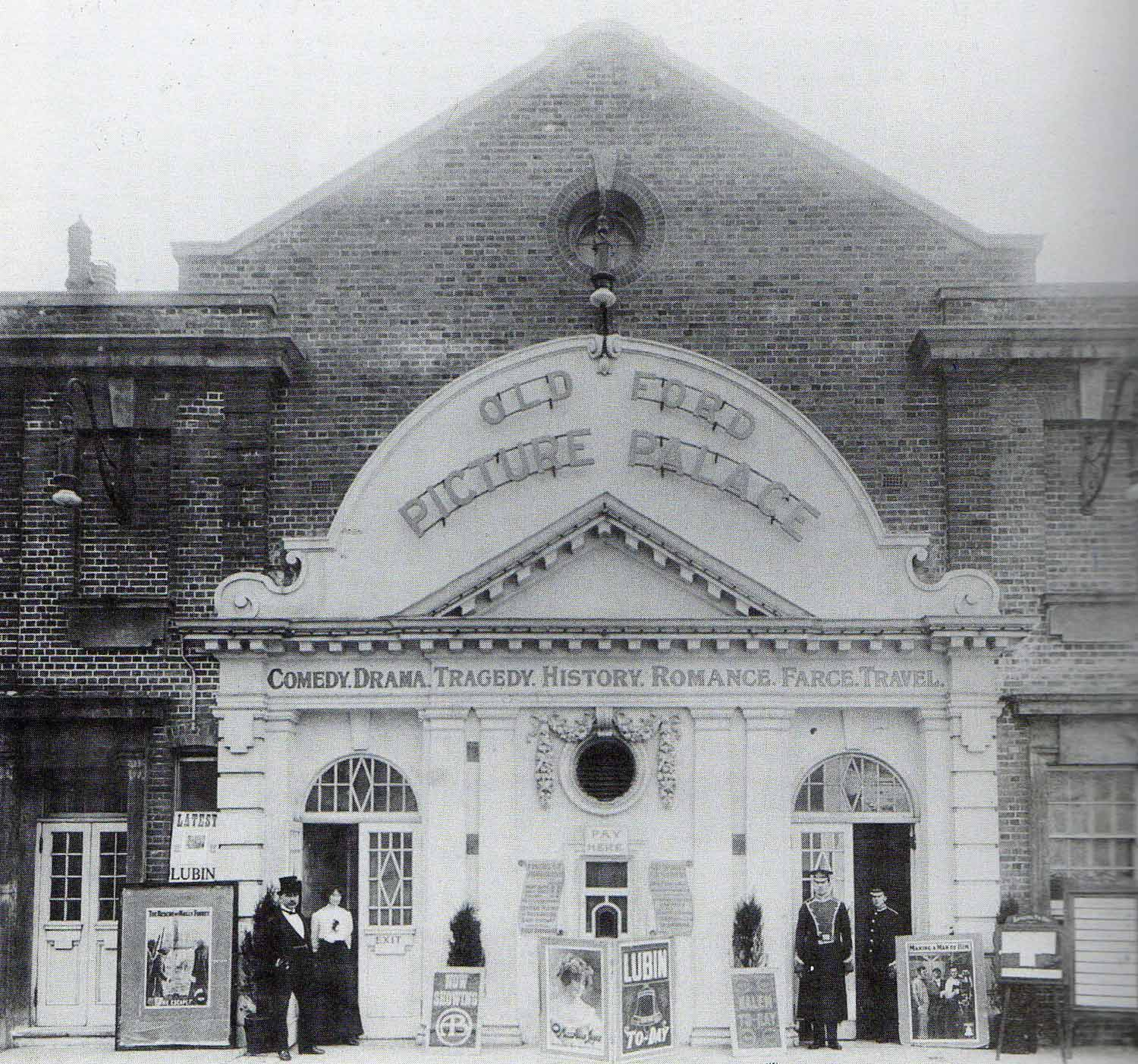 Black and white photograph of the Ritz Cinema in 1897