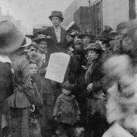 Bow Suffragette Melvina Walker speaking to spectators