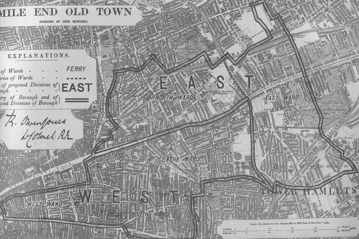 Mile end divisions in 1885