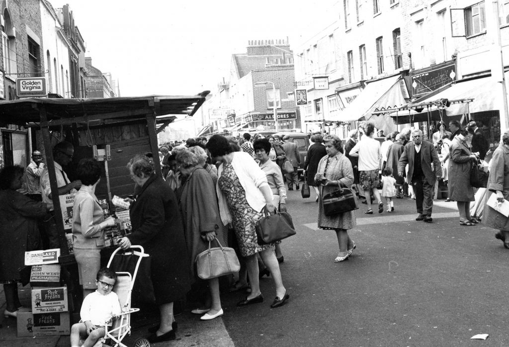Black and white image of Roman Road Market