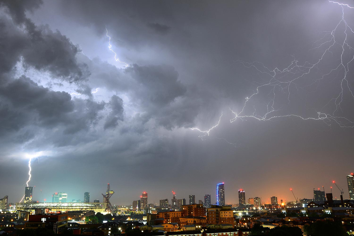 Photo of lightning storm over East London