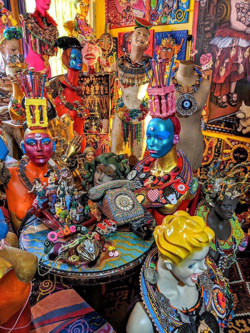 Sue Kreitzman artist sculptures in living room